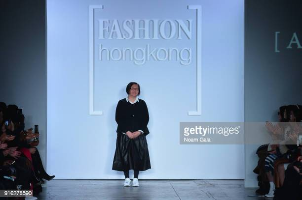 Designer Annette Tan of Anveglosa walks the runway for Fashion Hong Kong during New York Fashion Week The Shows at Industria Studios on February 9...