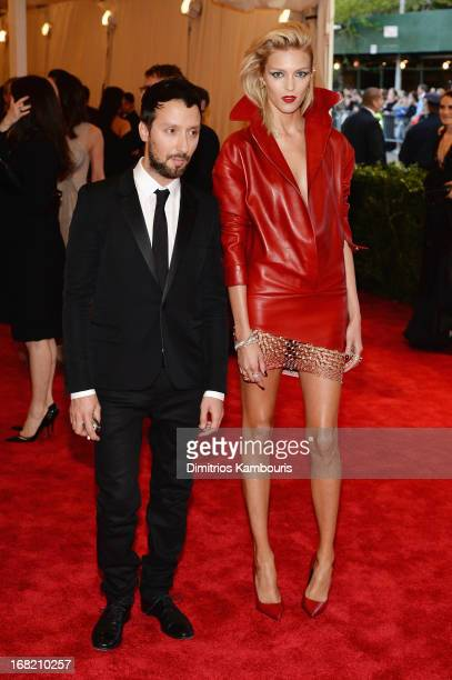 Designer Anthony Vaccarello and model Anja Rubik attend the Costume Institute Gala for the PUNK Chaos to Couture exhibition at the Metropolitan...