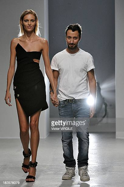 Designer Anthony Vaccarello and model Anja Rubik walk the runway during Anthony Vaccarello show as part of the Paris Fashion Week Womenswear...
