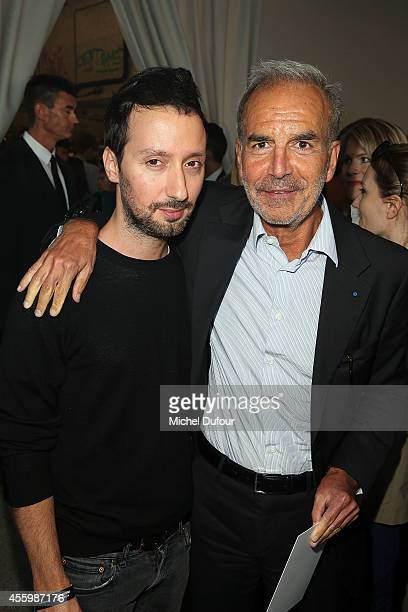 Designer Anthony Vaccarello and Ralph Toledano attend the Anthony Vaccarello show as part of the Paris Fashion Week Womenswear Spring/Summer 2015 on...