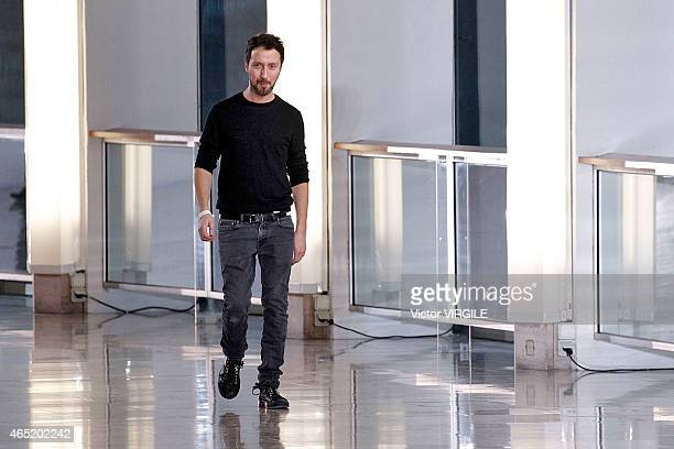 Designer Anthony Vaccarello walks the runway during the Anthony Vaccarello show as part of the Paris Fashion Week Womenswear Fall/Winter 2015/2016 on...