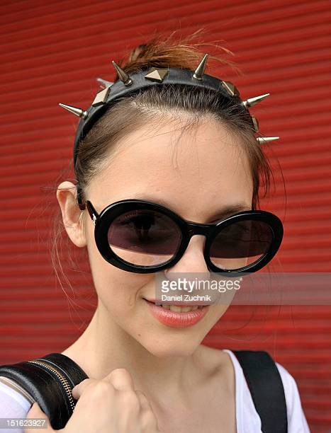 Designer Antonella Repetto seen outside the Alexander Wang show wearing a Hey McFly headpiece with Chanel glasses on September 8, 2012 in New York...