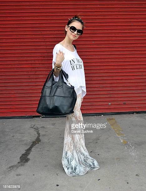 Designer Antonella Repetto seen outside the Alexander Wang show wearing a Hey McFly pants, shirt and headpiece with a Givenchy bag on September 8,...