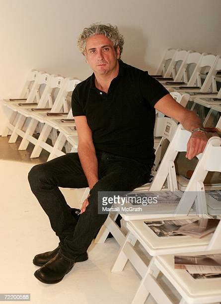 Designer Antonio Grimaldi poses before the show at the Italian Trade Commission presents Grimaldi Giardina and Lidia Cardinale Spring 2007 fashion...