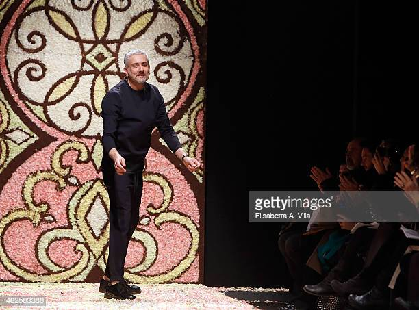 Designer Antonio Grimaldi walks the runway during Antonio Grimaldi S/S 2015 Italian Haute Couture colletion fashion show as part of AltaRoma AltaModa...