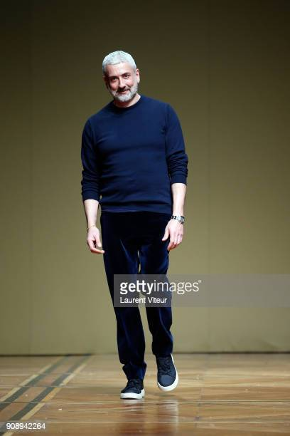 Designer Antonio Grimaldi walks the runway during the Antonio Grimaldi Haute Couture Spring Summer 2018 show as part of Paris Fashion Week on January...