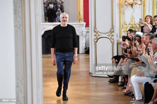 Designer Antonio Grimaldi walks the runway during the Antonio Grimaldi Haute Couture Fall Winter 2018/2019 show as part of Paris Fashion Week on July...