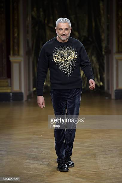 Designer Antonio Grimaldi walks the runway during the Antonio Grimaldi Spring Summer 2017 show as part of Paris Fashion Week on January 26 2017 in...
