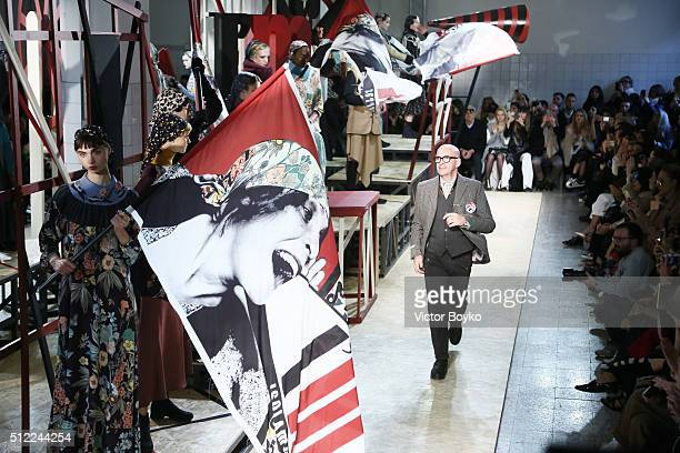 Designer Antonio Marras acknowledges the applause of the public after the I'M Isola Marras show during Milan Fashion Week Fall/Winter 2016/17 on...