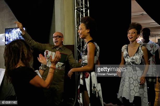 Designer Antonio Marras and models backstage at Antonio Marras show during Milan Fashion Week Spring/Summer 2017 on September 24 2016 in Milan Italy