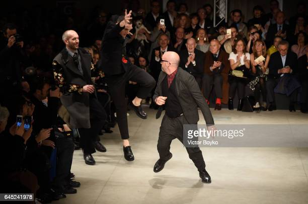 Designer Antonio Marras steps on to the runway at the Antonio Marras show during Milan Fashion Week Fall/Winter 2017/18 on February 25 2017 in Milan...