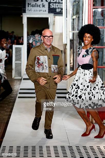 Designer Antonio Marras walks the runway at the Antonio Marras show Milan Fashion Week Spring/Summer 2017 on September 24 2016 in Milan Italy