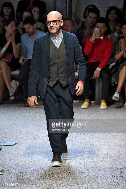 Designer Antonio Marras walks the runway during the Antonio Marras Ready to Wear fashion show as part of Milan Men's Fashion Week Spring/Summer 2016...