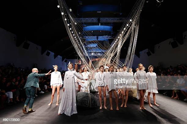 Designer Antonio Marras walks the runway during the Antonio Marras fashion show as part of Milan Fashion Week Spring/Summer 2016 on September 26 2015...