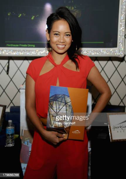 Designer Anya AyoungChee poses at the GBK Sparkling Resort Fashionable Lounge during MercedesBenz Fashion Week on September 6 2013 in New York City