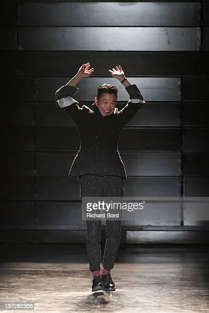 Designer Arashi Yanagawa walks the runway during the John Lawrence Sullivan Menswear Autumn/Winter 2013 show as part of Paris Fashion Week at Maison...