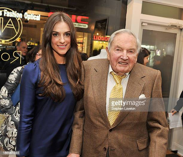 Designer Ariana Rockefeller and David Rockefeller attend the private reception celebrating the opening of the Ariana Rockefeller Popup Shop on...