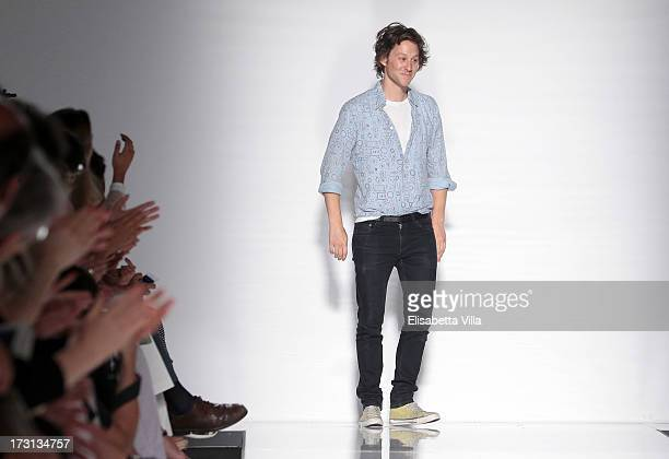 Designer Arthur Arbesser acknowledges the pubblic during 'Who Is On Next' Altaroma Vogue Italia fashion show as part of AltaRoma AltaModa Fashion...