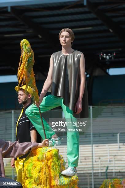 Designer Arthur Avellano walks the runway during the Arthur Avellano Menswear Spring/Summer 2019 show as part of Paris Fashion Week on June 19 2018...