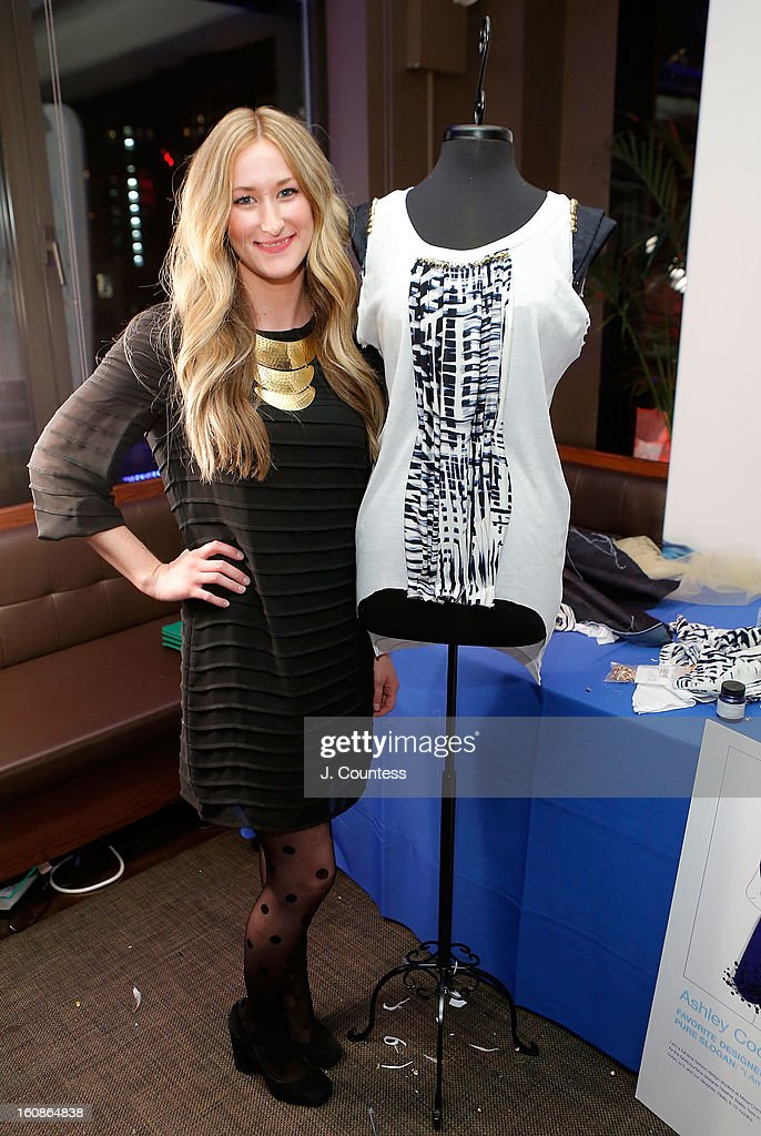 Designer Ashley Cooper with her design during the Aquafina 'Pure Challenge' at the Aquafina 'Pure Challenge' After Party at The Empire Hotel Rooftop on February 6, 2013 in New York City.