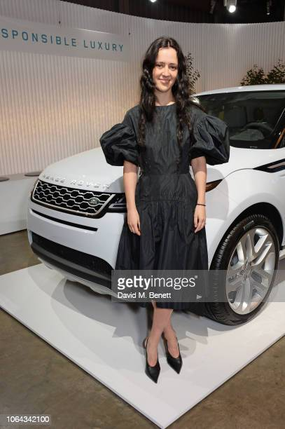 Designer Ashley Williams poses alongside the new Range Rover Evoque during its World Premiere of the new Range Rover Evoque at The Old Truman Brewery...