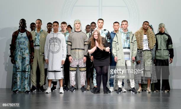 Designer Astrid Andersen and models on the runway after her show during the London Fashion Week Men's June 2017 collections on June 11 2017 in London...