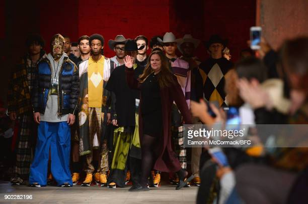 Designer Astrid Andersen and models on the runway at the Astrid Andersen show during London Fashion Week Men's January 2018 at Old Selfridges Hotel...