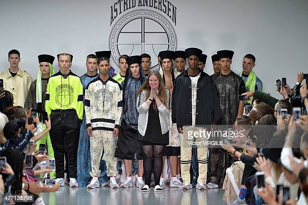 Designer Astrid Andersen walks the runway at the Astrid Andersen Ready to Wear Spring Summer 2016 fashion show during London Menswear Fashion Week on...