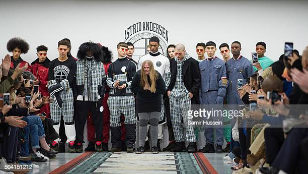 Designer Astrid Anderson walks the runway at the Astrid Anderson show during The London Collections Men AW16 at Victoria House on January 9 2016 in...