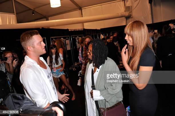 Designer August Getty Whoopi Goldberg and Jerzey Dean pose backstage at the August Getty fashion show during MercedesBenz Fashion Week Spring 2015 at...