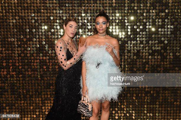 Designer Aurora James and actress Mia Moretti attend the Eighth Annual Brooklyn Artists Ball at The Brooklyn Museum on April 17 2018 in New York City