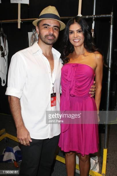 Designer AZ Araujo and TV Personality Adriana de Moura pose backstage at the AZ Araujo / AG Uaclara /Aquarella/ Have Faith Swimwear show during...