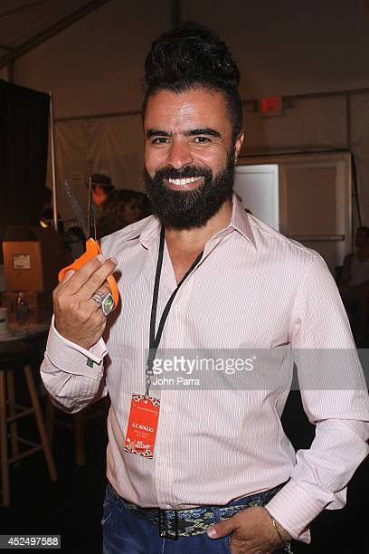 Designer AZ Araujo backstage at the AZ Araujo show during MercedesBenz Fashion Week Swim 2015 The Raleigh Hotel on July 21 2014 in Miami Beach Florida