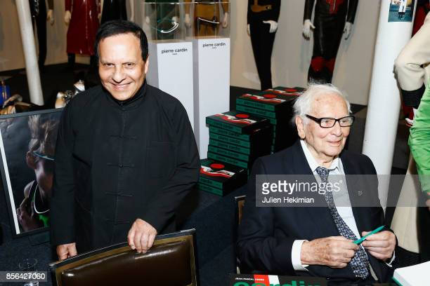 Designer Azzedine Alaia and Designer Pierre Cardin attend the 'Pierre Cardin' By JeanPascal Hesse Book Signing At Pierre Cardin Museum as part of the...