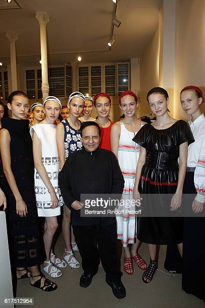 Designer Azzedine Alaia and models attend the Azzedine Alaia Fashion Show at Azzedine Alaia Gallery on October 23 2016 in Paris France