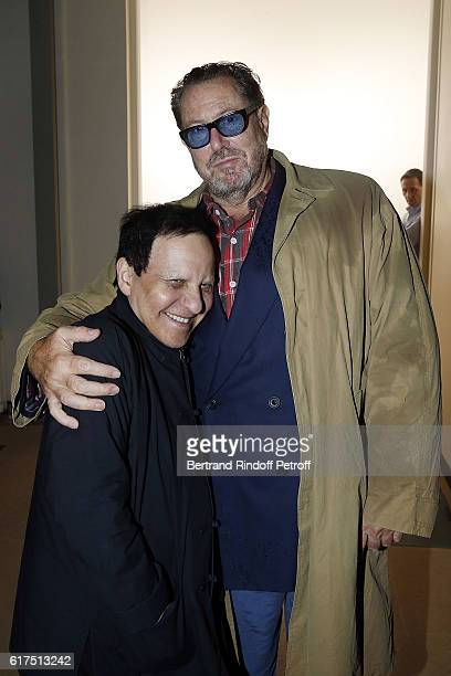 Designer Azzedine Alaia and Painter and Director Julian Schnabel attend the Azzedine Alaia Fashion Show at Azzedine Alaia Gallery on October 23 2016...
