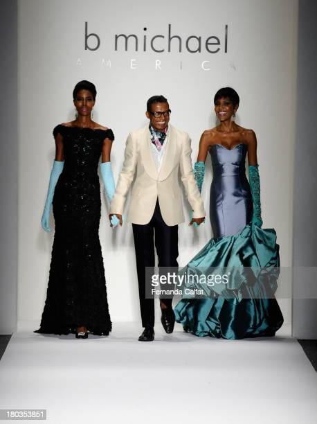 Designer B Michael and models walk the runway at the B Michael America fashion show during MercedesBenz Fashion Week Spring 2014 at The Studio at...
