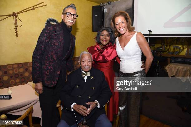 Designer B Michael former NYC Mayor David N Dinkins Cicely Tyson and TV news journalist Kemberly Richardson attend a private reception to celebrate...