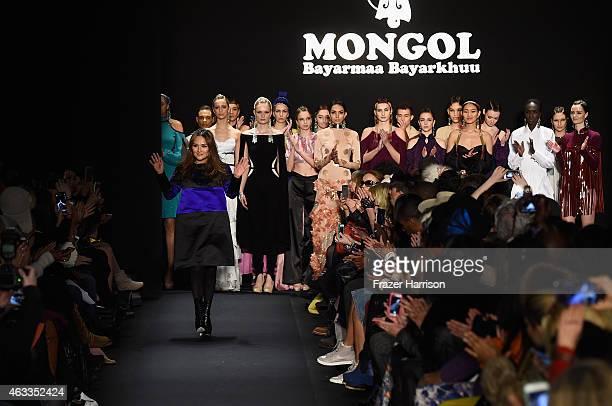 Designer Bayarmaa Bayarkhuu walks the runway at the Mongol fashion show during Mercedes-Benz Fashion Week Fall 2015 at The Theatre at Lincoln Center...