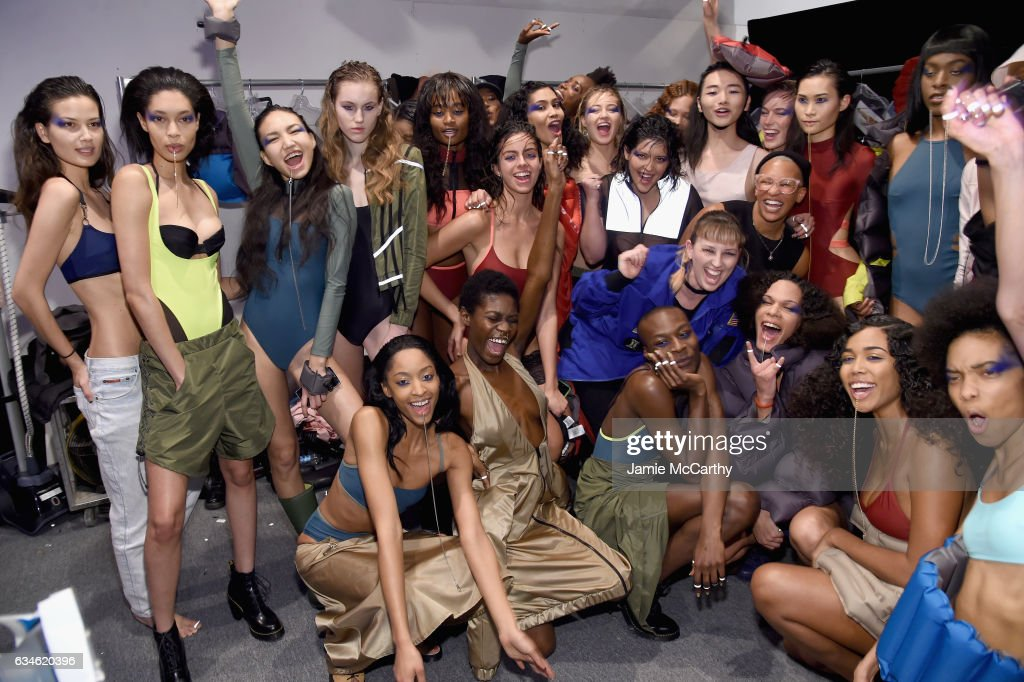 Designer Becca McCharen (C) poses backstage with models for the Chromat collection during, New York Fashion Week: The Shows at Gallery 3, Skylight Clarkson Sq on February 10, 2017 in New York City.