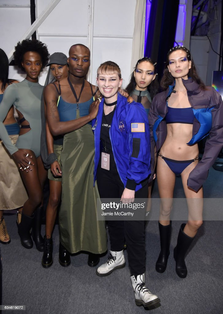 Designer Becca McCharen poses with models backstage for the Chromat collection during, New York Fashion Week: The Shows at Gallery 3, Skylight Clarkson Sq on February 10, 2017 in New York City.