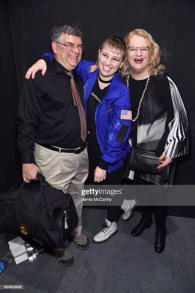 Designer Becca McCharen (C) poses with parents backstage for the Chromat collection during, New York Fashion Week: The Shows at Gallery 3, Skylight Clarkson Sq on February 10, 2017 in New York City.