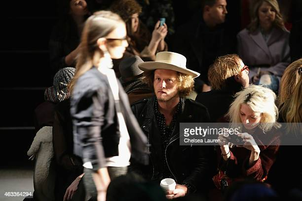 Designer Ben Schulman and model Cory Kennedy attends the Mongol fashion show during Mercedes-Benz Fashion Week Fall 2015 at The Theatre at Lincoln...