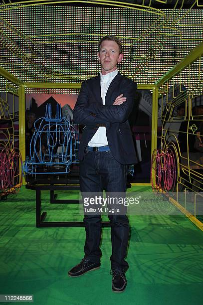 Designer Benedict Radcliffe attends the Benedict Radcliffe wireframe design installation inspired to Range Rover Evoque at the Opificio 31 during...