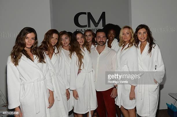 Designer Benny Rosset poses backstage at the CM CiaMaritima Swimwear fashion show during MercedesBenz Fashion Week Swim 2015 at Cabana Grande at The...