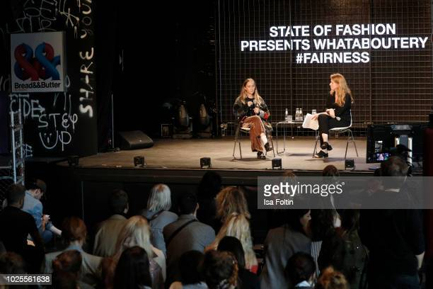 Designer Bethany Williams and Renee van der Hoek talks on stage at the 'State of Fashion' panel talk during the Bread&&Butter by Zalando at Arena...