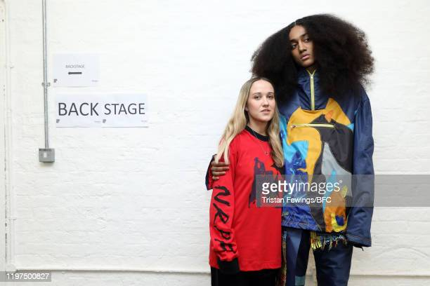 Designer Bethany Williams poses backstage with a model ahead of the Bethany Williams show during London Fashion Week Men's January 2020 at the BFC...