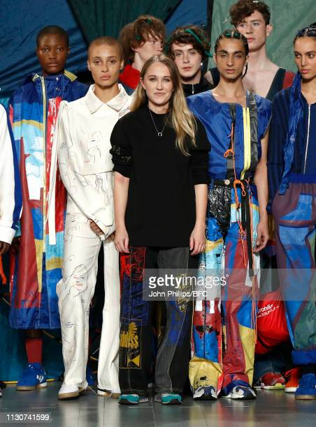 Designer Bethany Williams poses on the runway during the finale of the Bethany Williams show during London Fashion Week February 2019 at the BFC Show...