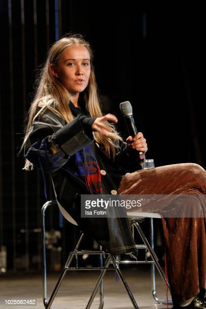 Designer Bethany Williams talks on stage at the 'State of Fashion' panel talk during the BreadButter by Zalando at Arena Berlin on August 31 2018 in...