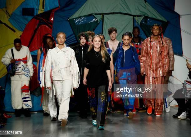 Designer Bethany Williams walks the runway during the finale of the Bethany Williams show during London Fashion Week February 2019 at the BFC Show...